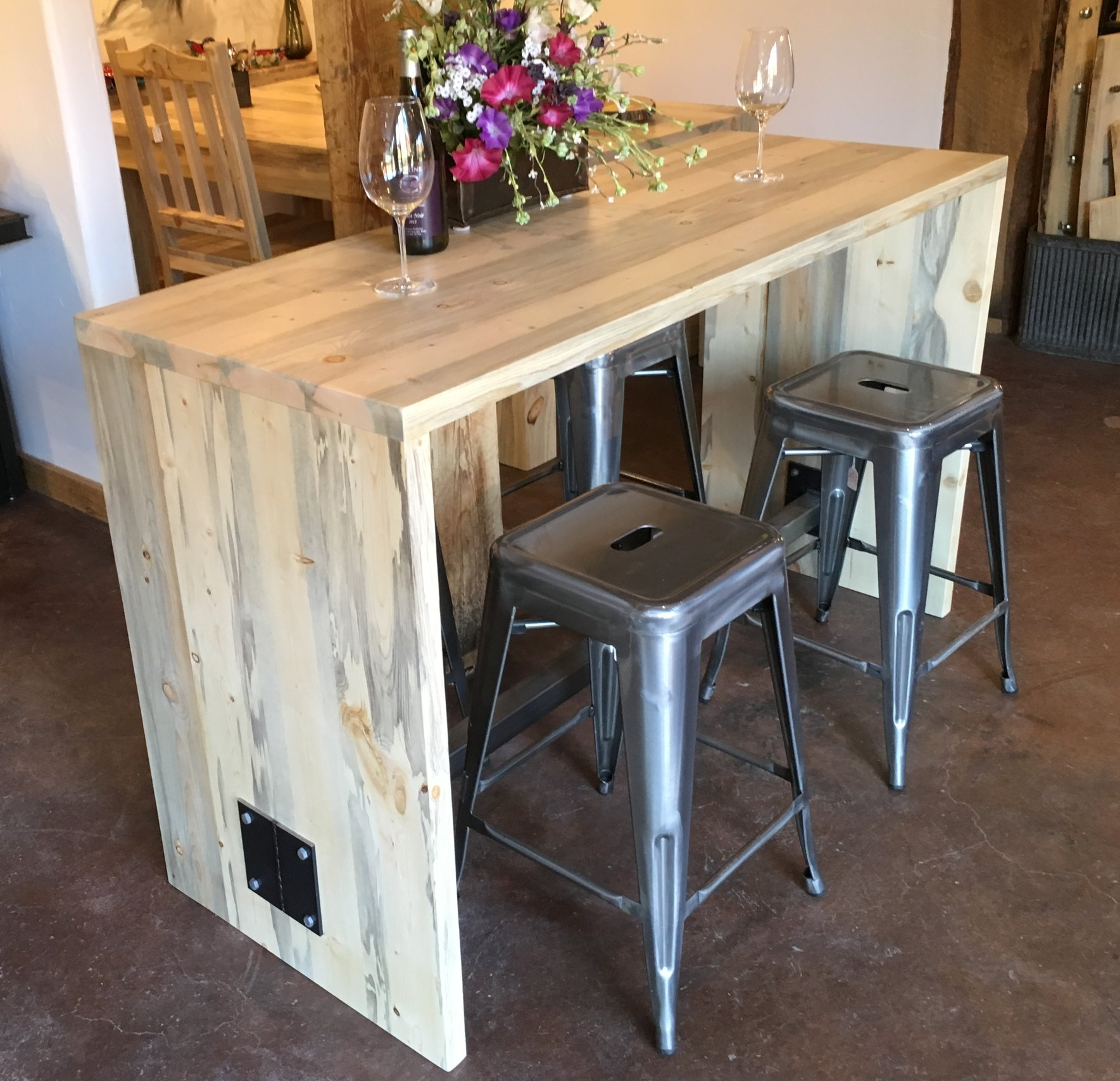 - Beetle kill pine and steel contemporary bar / island - $1075