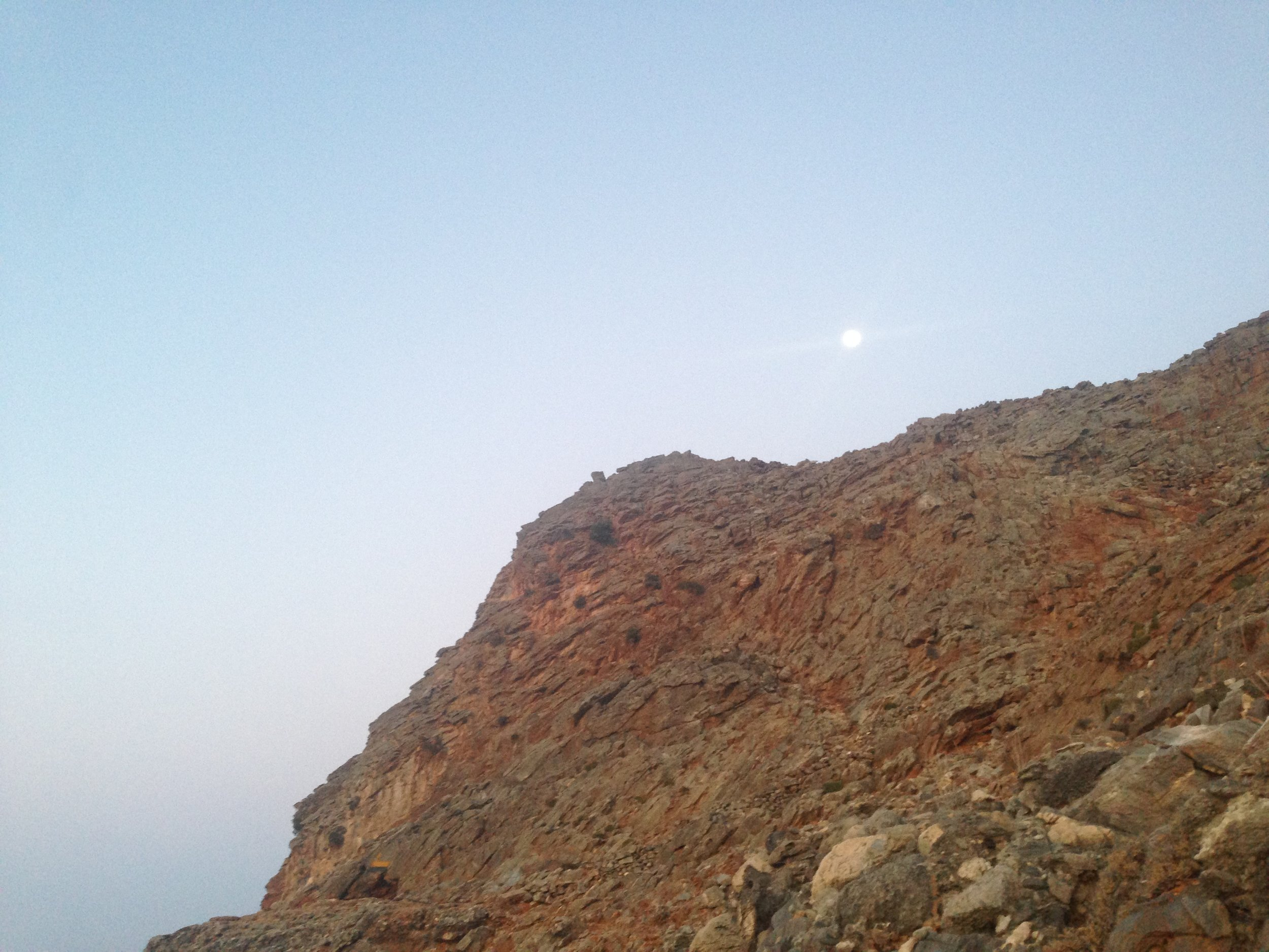 soft moon at evening sky Finikas