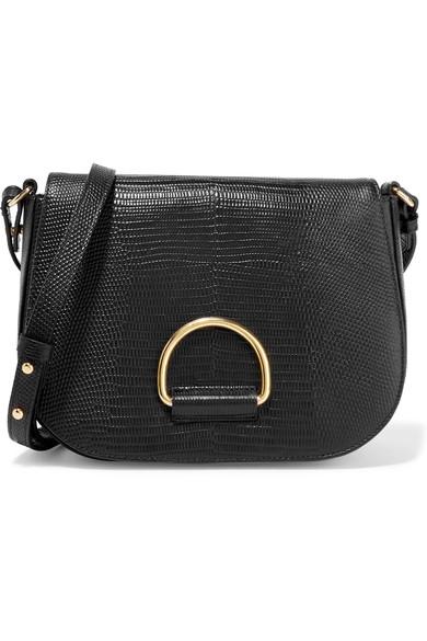 Little Liffner D Saddle medium lizard-effect leather shoulder bag
