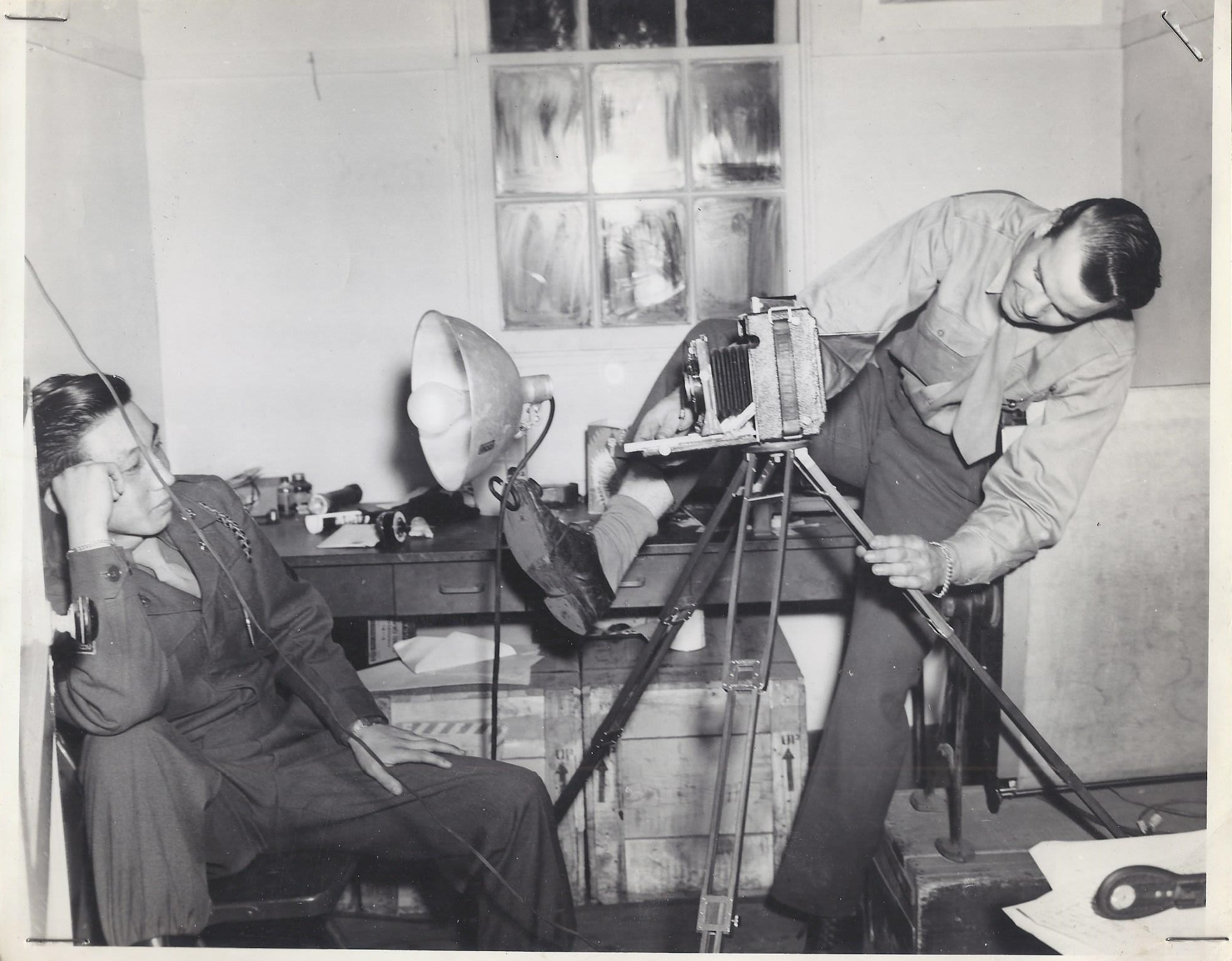 "Richard ""Dick"" French gets creative as a military photographer in the 1940s. Photo courtesy of Laurel Barrett."