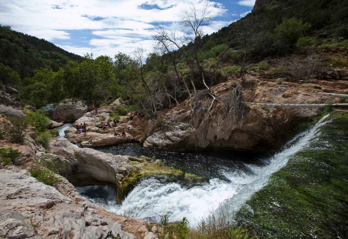 Just past the waterfall, where everyone congregates, Fossil Creek becomes a private oasis. Photo by Nick Cote.