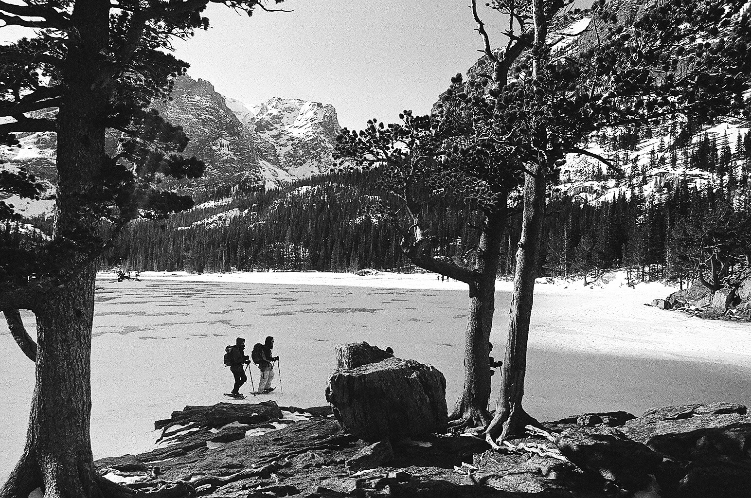 Strangers on snowshoes in Rocky Mountain National Park.