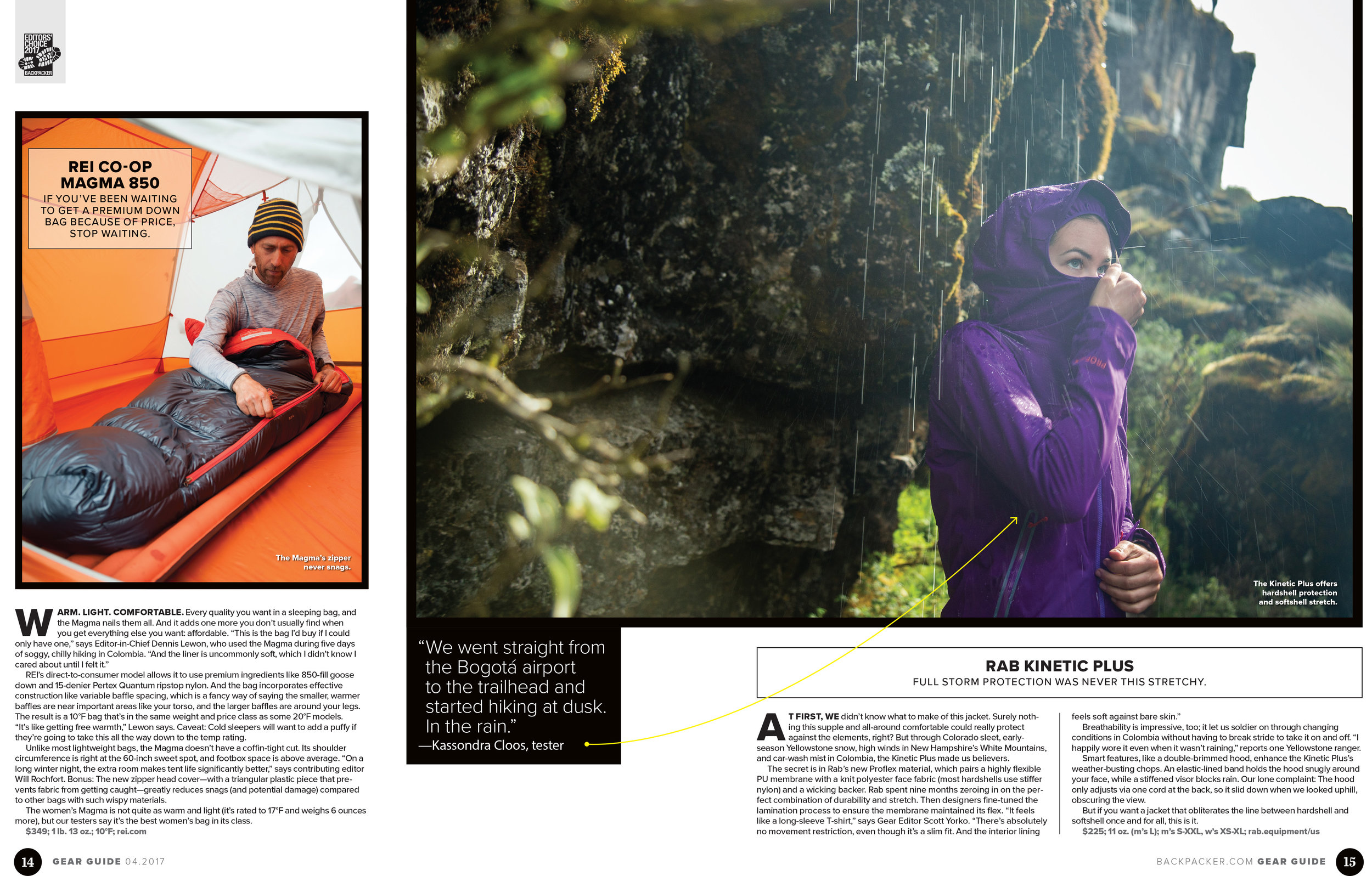 Me, on the right, testing gear on  BACKPACKER 's   Editor's Choice trip to Colombia. This spread was in the Spring 2017 Gear Guide. Photo:  WhereNext