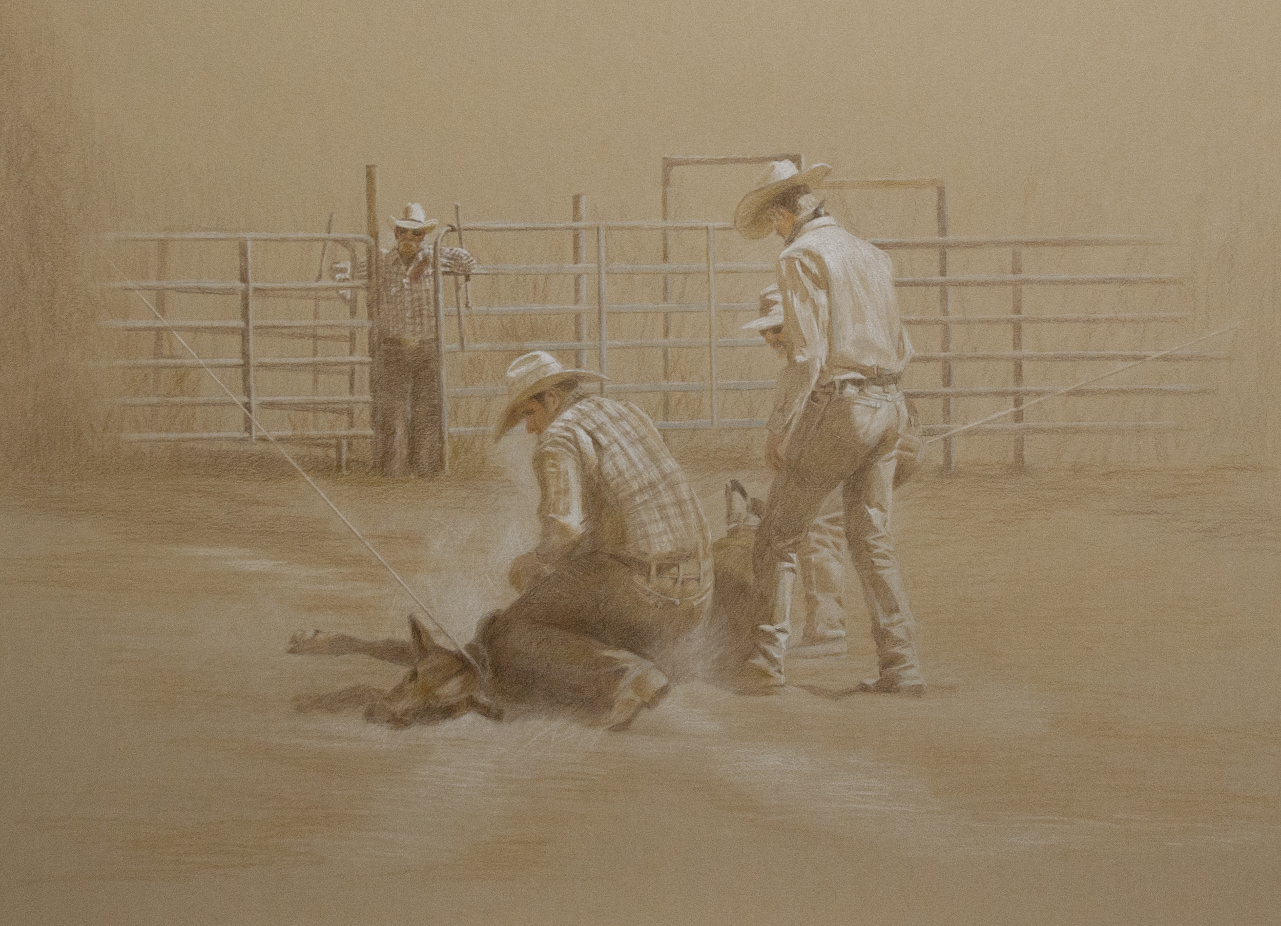 This is one of Western artist George Paliotto's original pencil and charcoal drawings depicting contemporary and historical cowboy life. Contact the artist for more information about purchasing this painting.