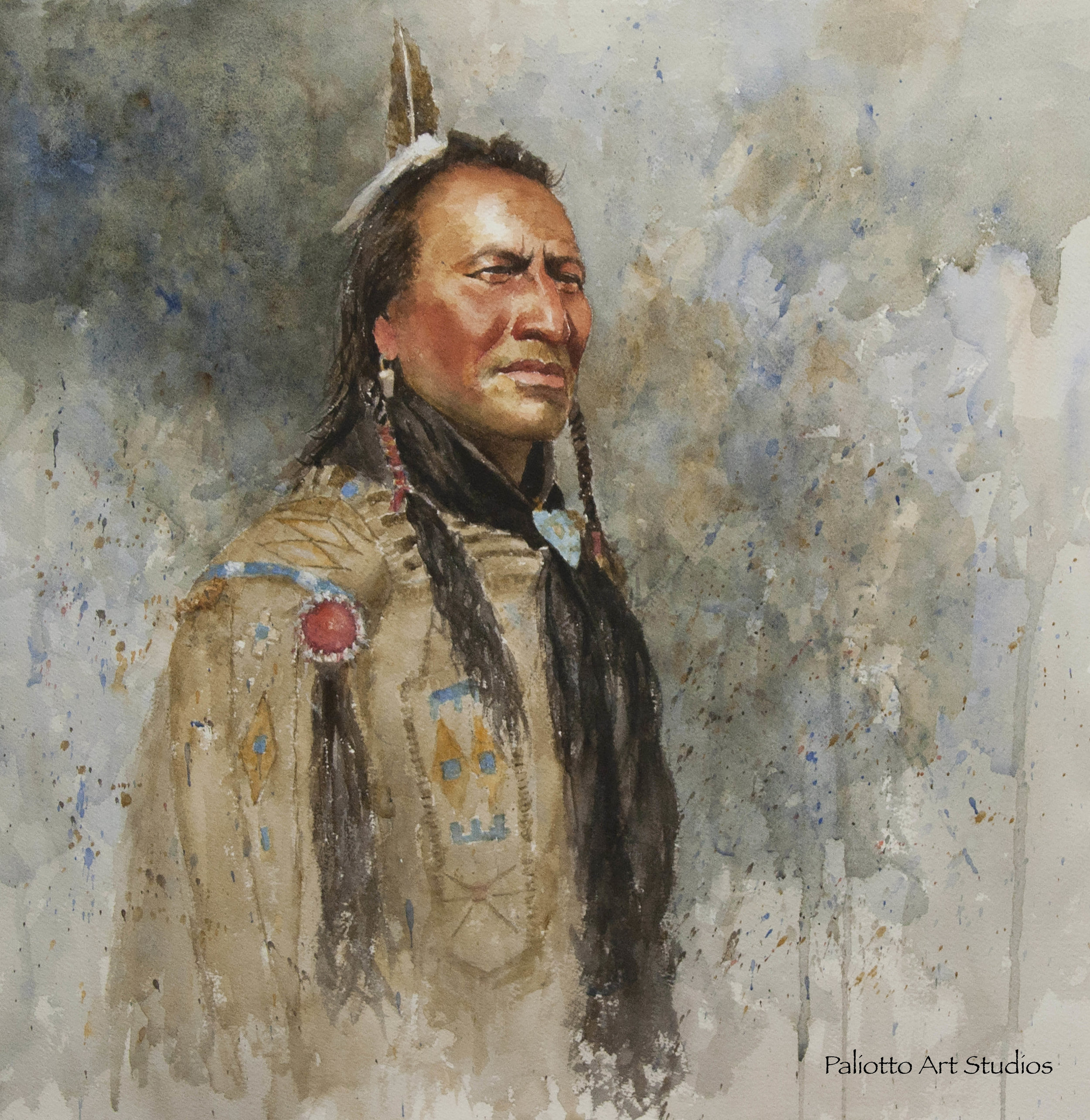 """Big Mouth Spring""  -- Piegan Blackfoot Native American,  Watercolor,   18"" x 17.5"""
