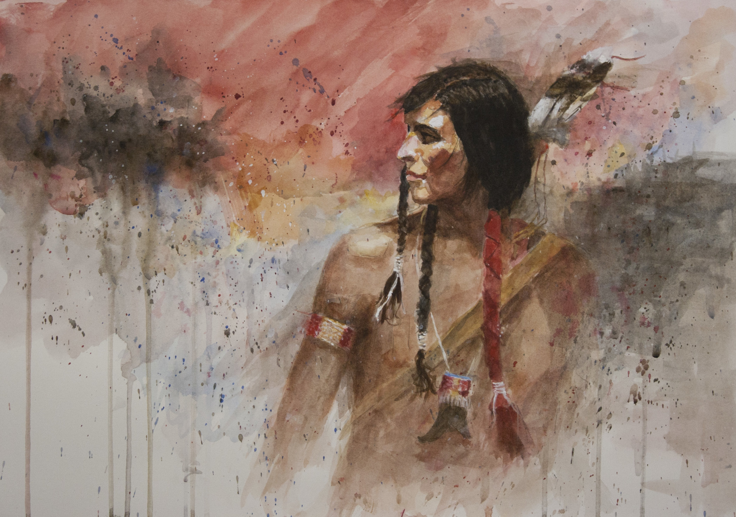 """Lakota Brave""  -- 14"" x 20""  watercolor"