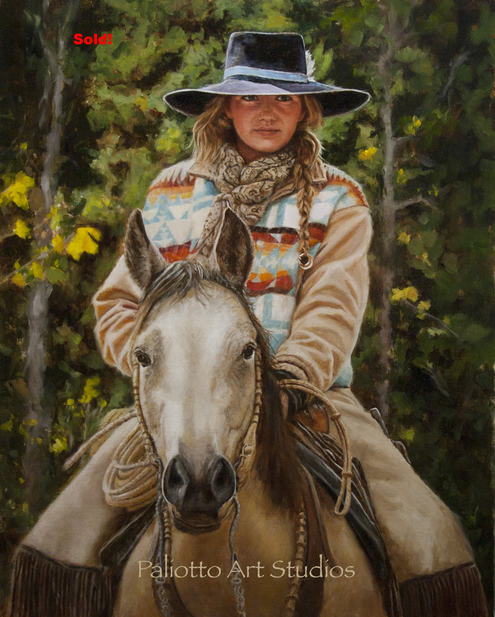 "Wyoming Cowgirl, 30 x 24"", Sold!"