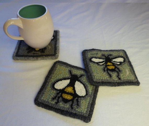 Jess' bee coasters.jpg