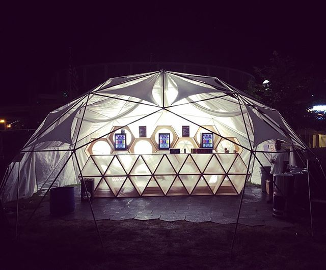 Bar/Lounge dome we built for Red Bull at Movement Festival #geodesic #dome #RedBull #geometric #design