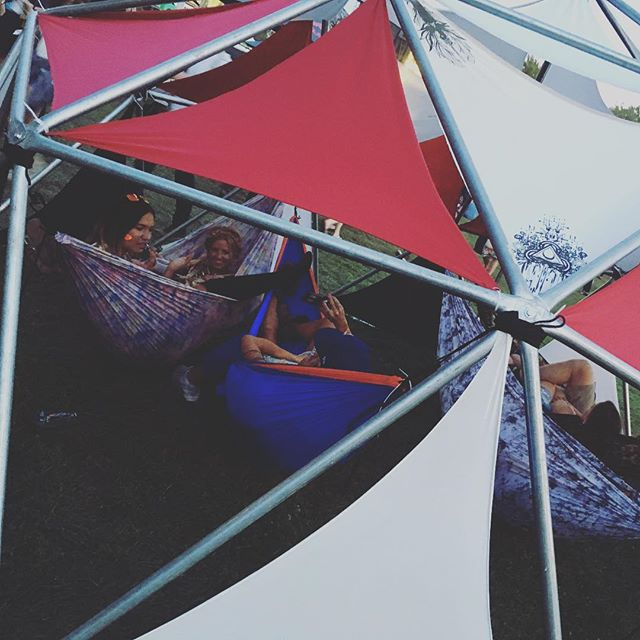 Happy souls hanging in one of our domes at #northcoast this past weekend! #VIP #hammock #sanctuary #synergy #geodesic #dome #grandtrunk