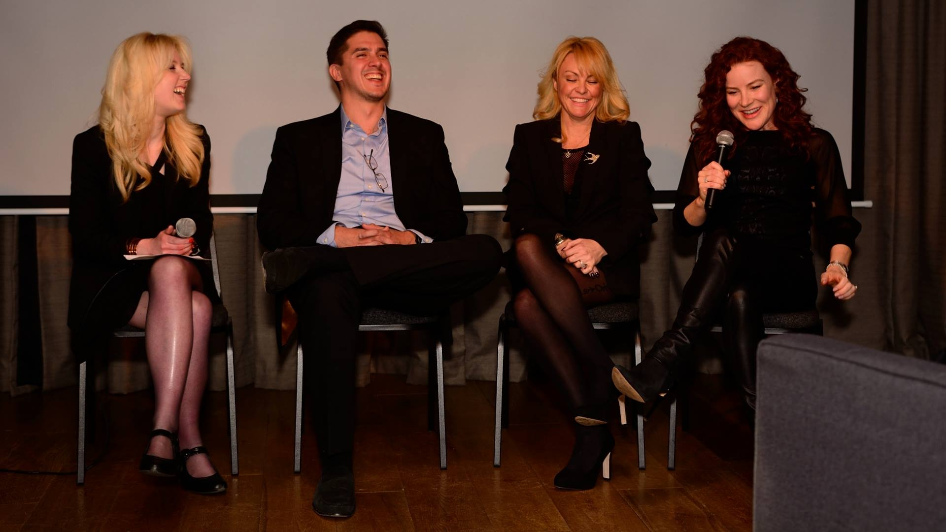 Q&A at the Century Club in London (L to R: The Film Doctor Rebekah Louisa Smith, director Sasha Krane, actress/producer Sarina Taylor, actress/writer/producer Katharine McEwan.