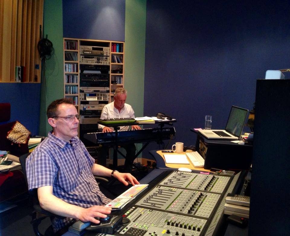 Joshua Macrae and Roger Taylor working on the score for   Solitary  .