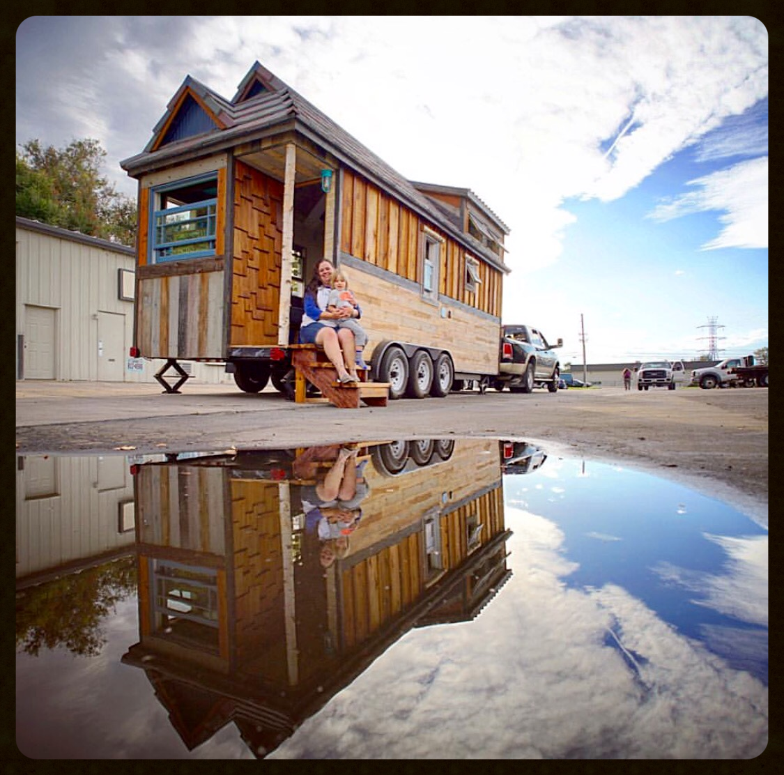 Here are R.A.D. and Meg posing at the the open house we had at Trailer Made Trailers in Denver on our way to our winter parking spot in October 2015.Photo credit to Guillaume Dutilh of Tiny House Giant Journey - he's amazing!