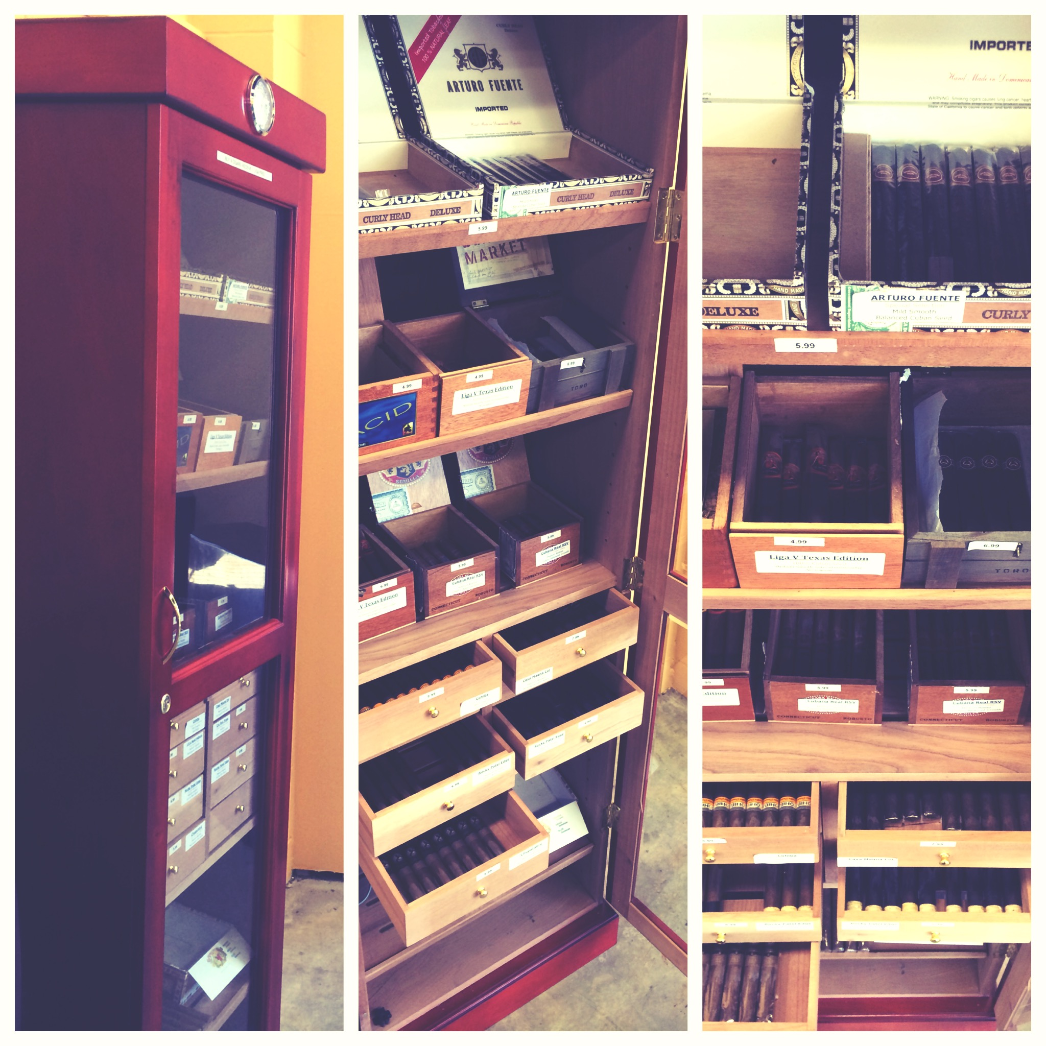 Large humidor with diverse cigar selection