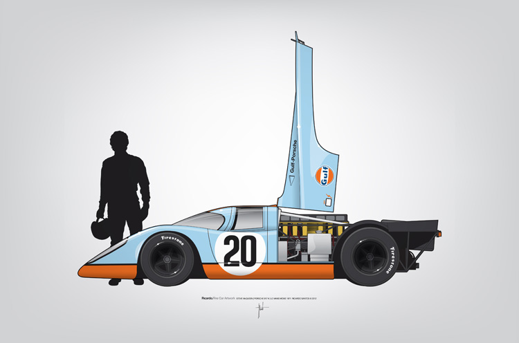 Outline Series N.º4, Steve McQueen, Porsche 917, Le Mans movie 1971