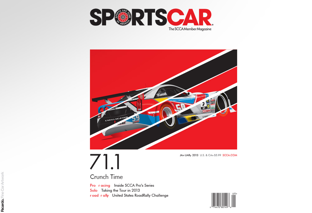 Illustration:  Sports Car Club of America January 2013 issue cover    Client: Sports Car Club of America Magazine