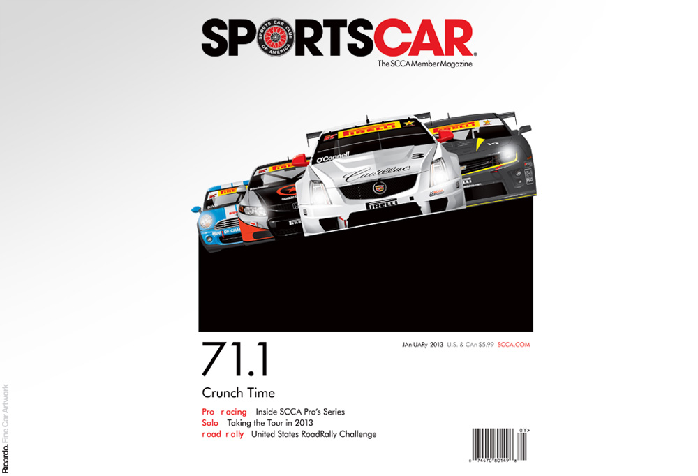 Illustration: Sports Car Club of America January 2014 issue cover    Client: Sports Car Club of America Magazine