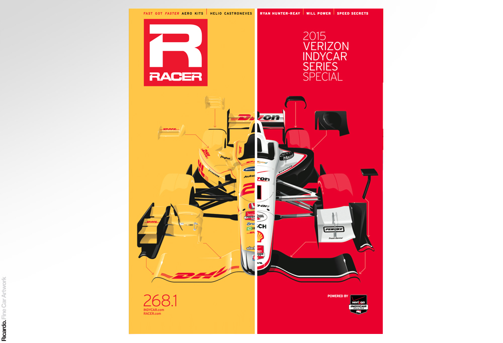 Illustration: Honda and Chevrolet new Indycar Series aeropack. RACER Indycar Series 2015 special edition   Client: RACER Magazine