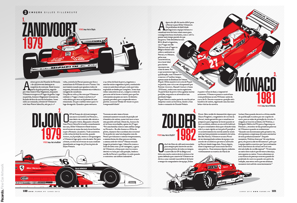 Illustrations: Remembering Gilles Villeneuve Client: Turbo magazine
