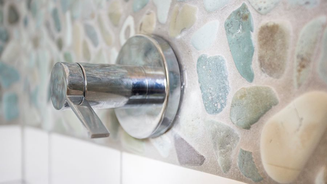 Alcove shower features accent strip of natural stone mosaic in South Minneapolis