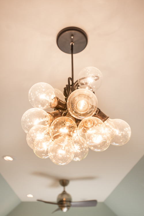 cluster of transparent bulbs in pendant