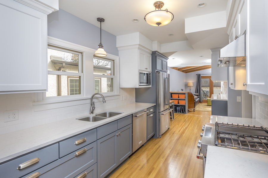 Slate blue kitchen cabinets