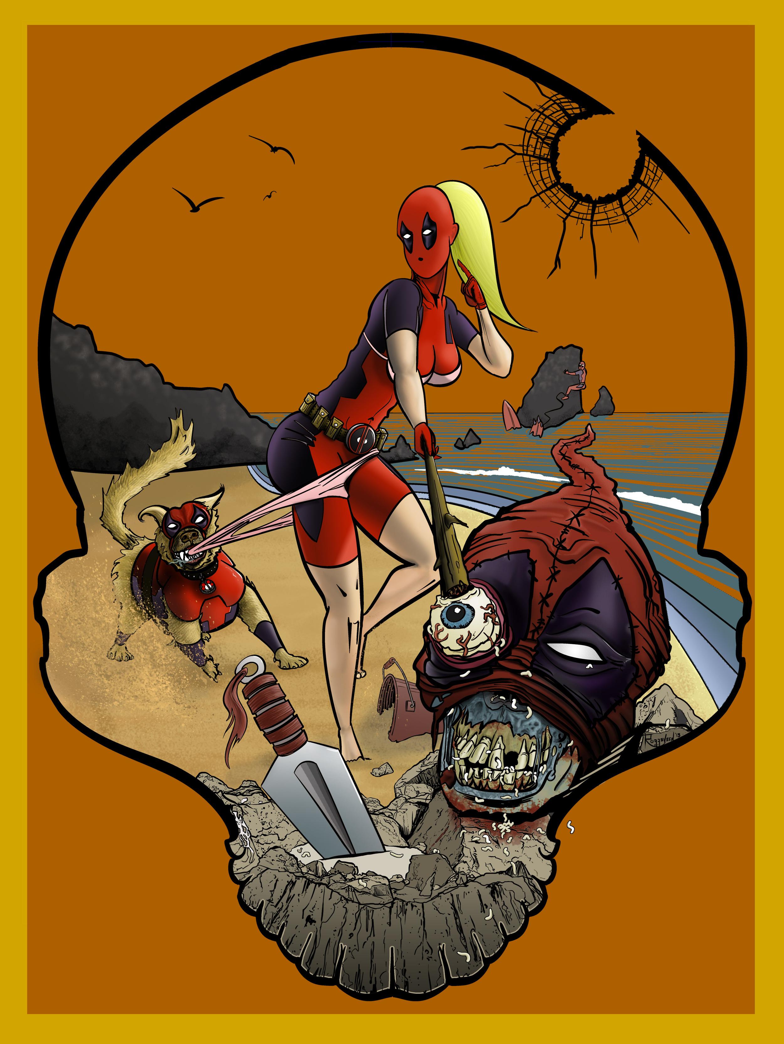 Deadpool Ladypool Dogpool Headpool beach surfing by Erik Roggeveen