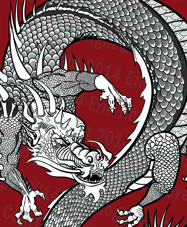 Dragon scales on flying twisting dragon by Erik Roggeveen
