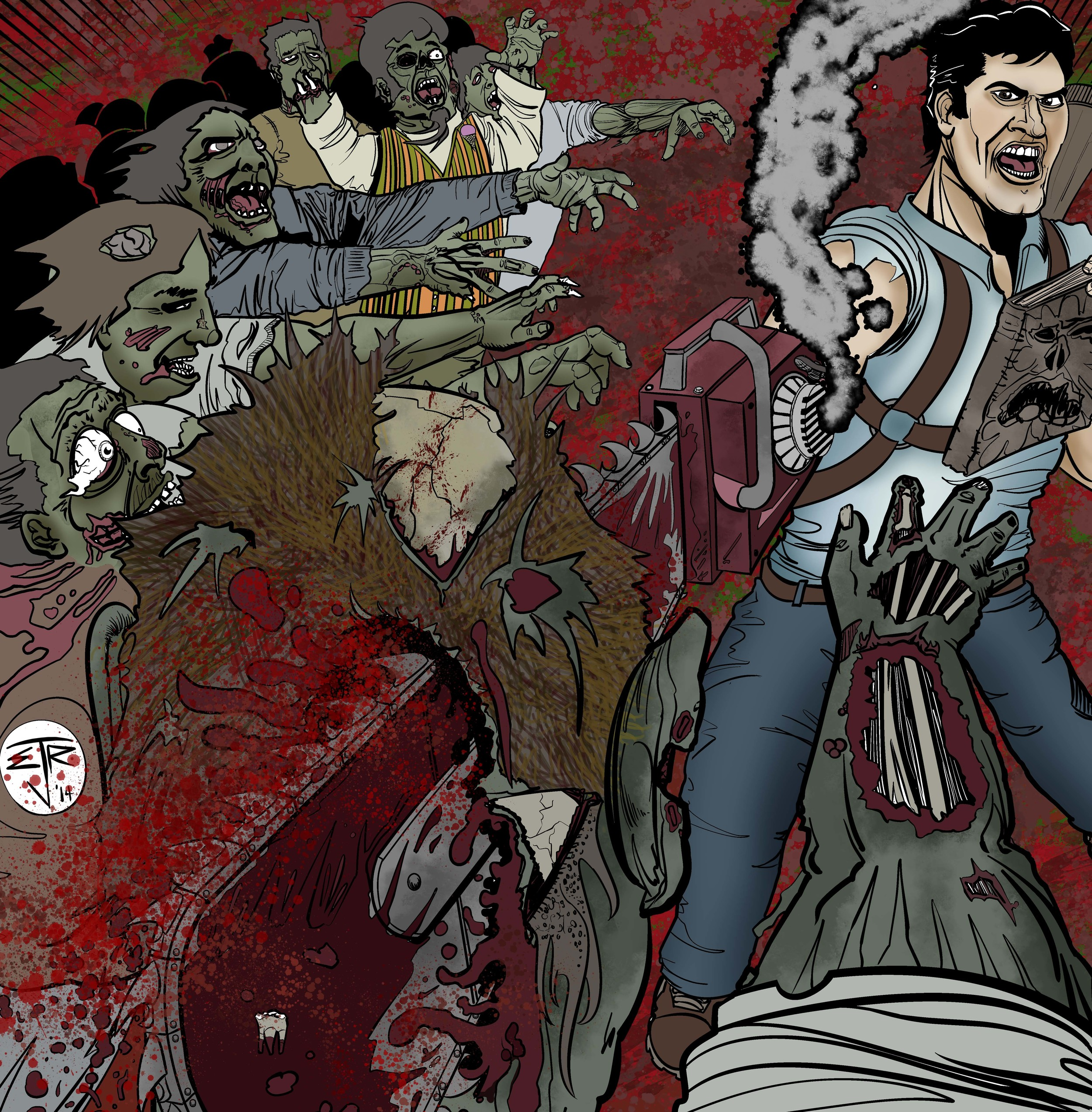 Ash Evil Dead chainsawing zombies by Erik Roggeveen