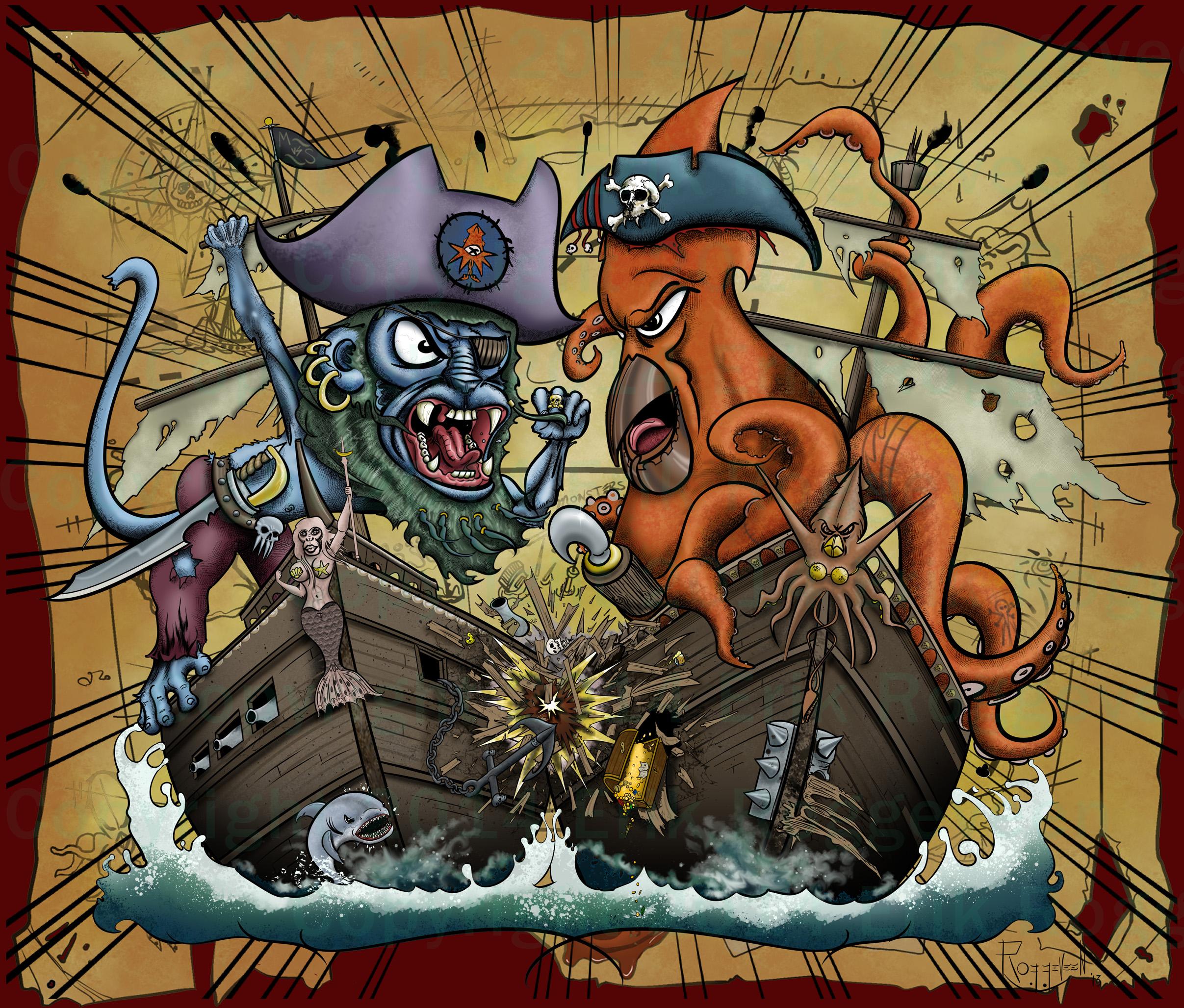 Monkey Vs Squid ships crashing by Erik Roggeveen