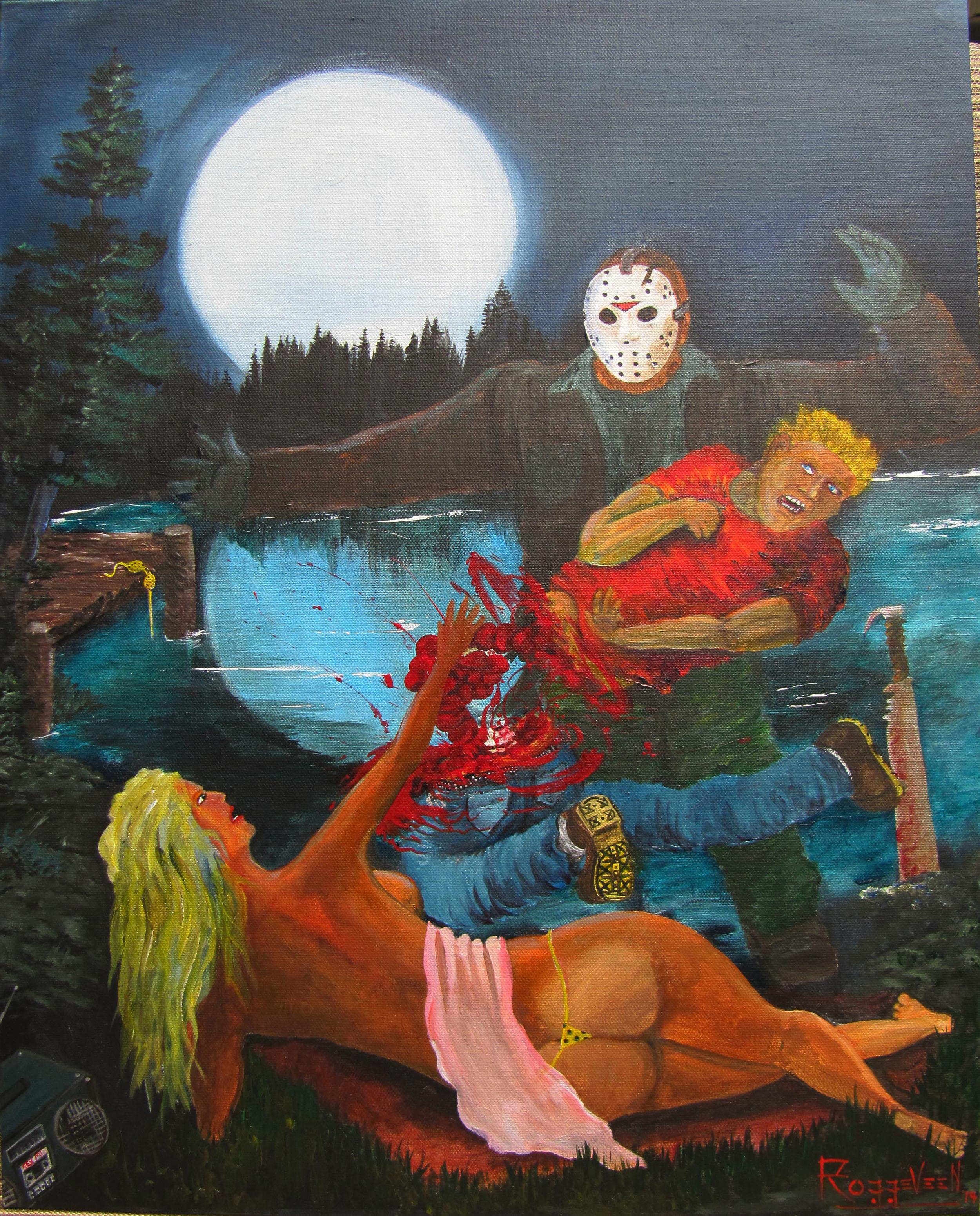 Jason Voorhees art painting by Erik Roggeveen