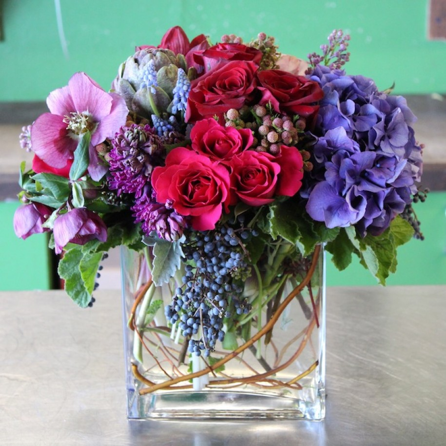 Roses in glass vase.JPG
