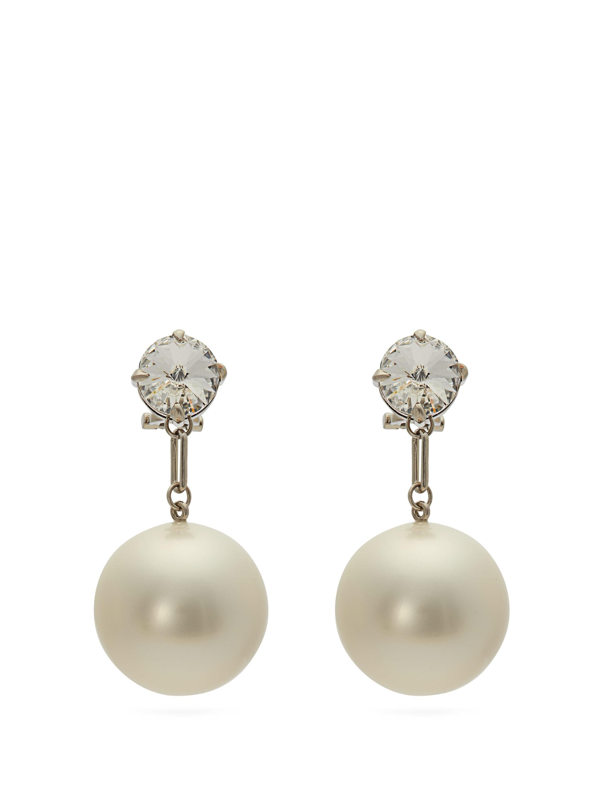 1. Miu Miu Crystal and Pearl Drop Earrings $725 from www.matchesfashion.com