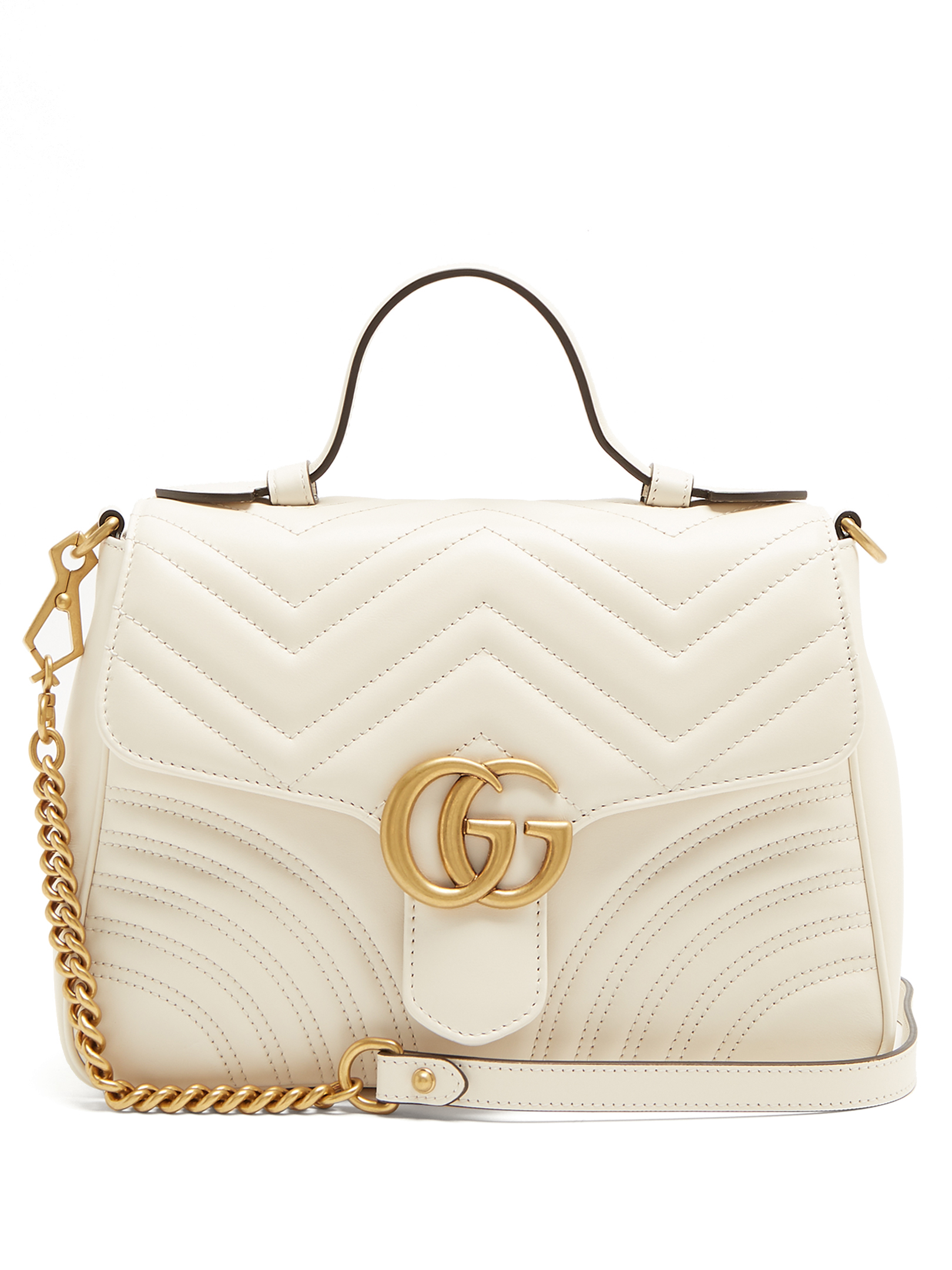 5. Gucci GG Marmont Quilted-Leather Shoulder Bag in White $2,590 from www.matchesfashion.com