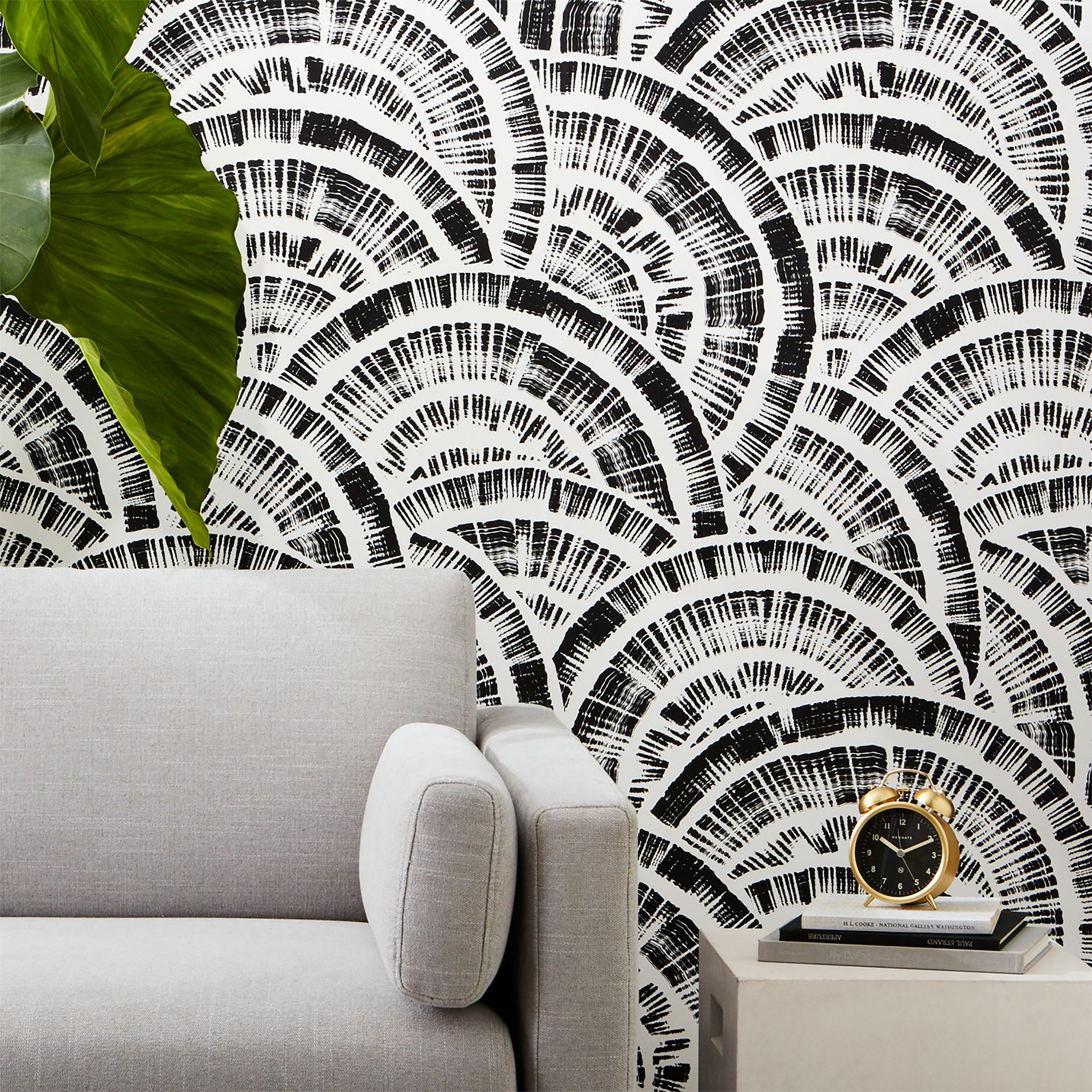 Expressionist Rounds Wallpaper in  Black and White