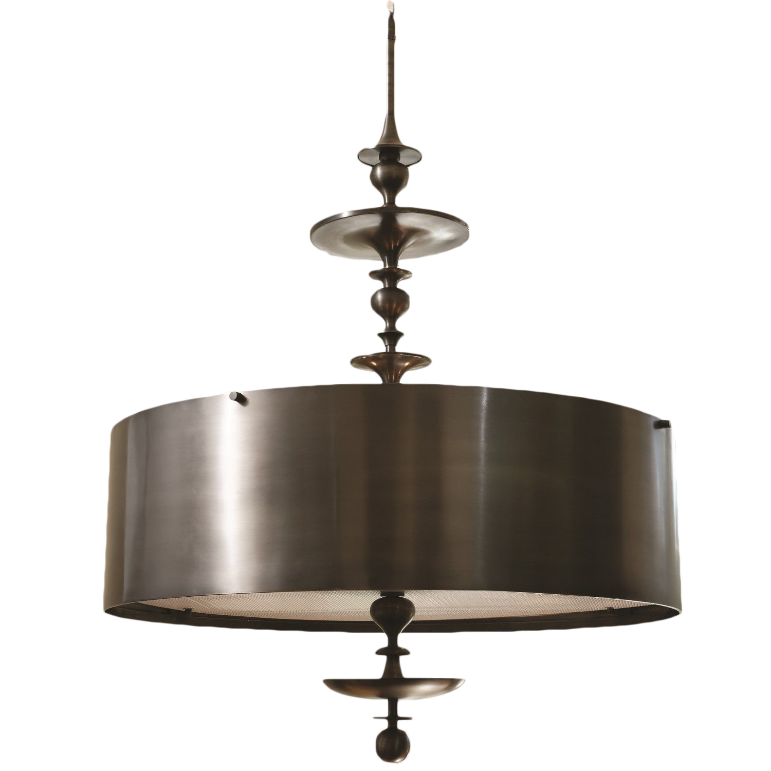 Global Views Turned Pendant Chandelier in Antique Bronze