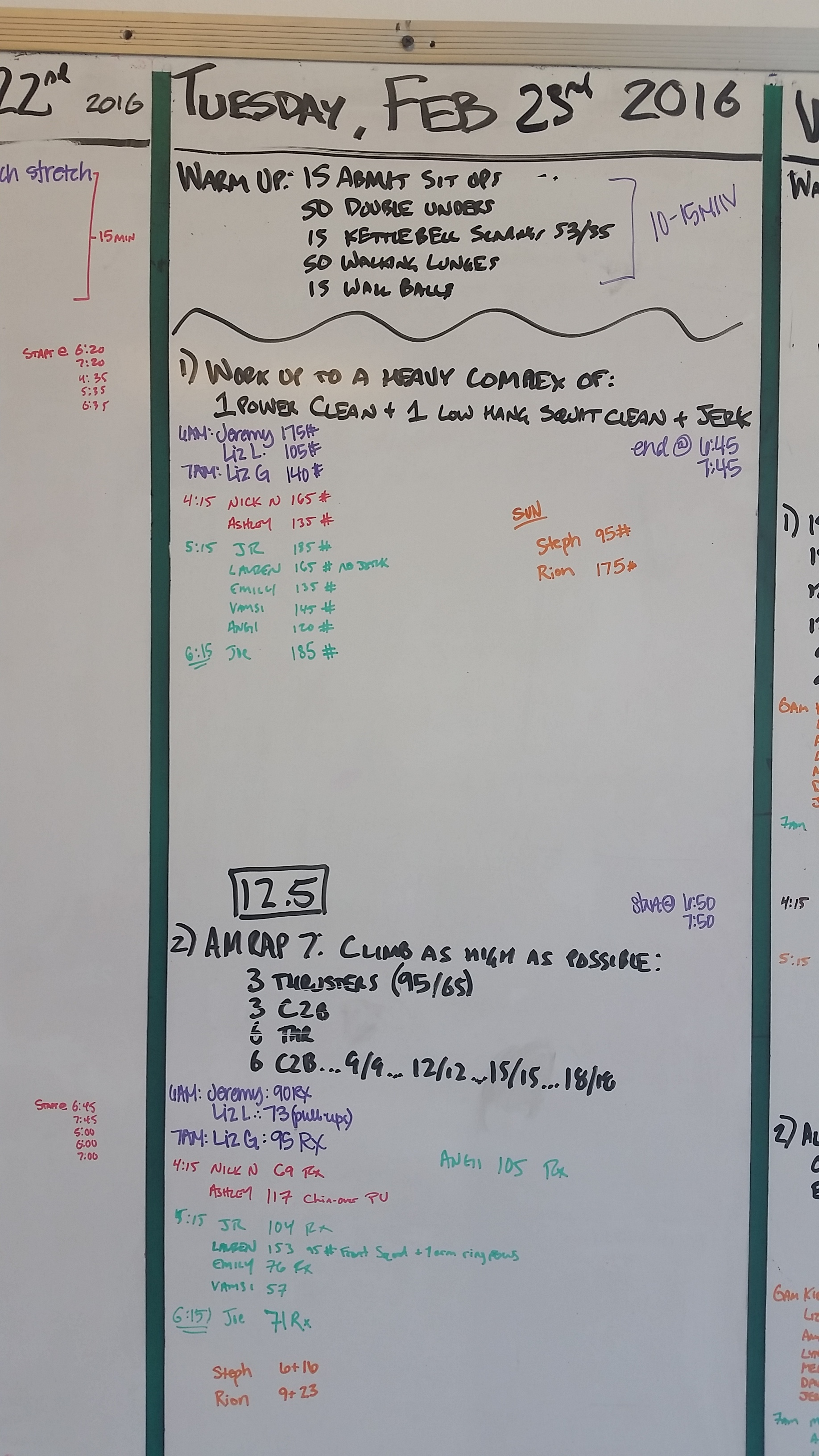20160223 CrossFit Craft Power Clean Low Hang Squat Clean and Jerk BENCHMARK OPEN 12.5 Thrusters Chest to Bar Pull Ups