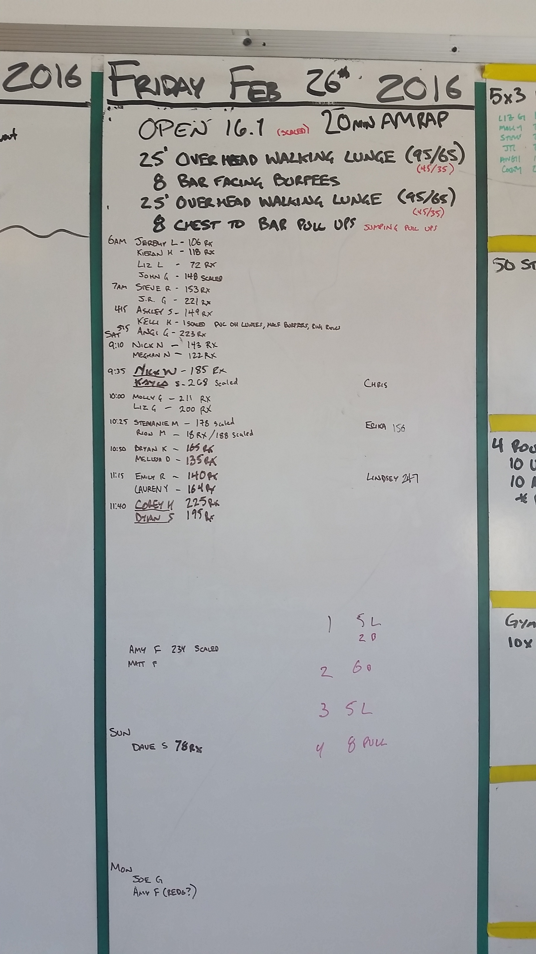 20160226 CrossFit Craft BENCHMARK OPEN 16.1 Overhead Walking Lunge Bar Facing Burpees Chest to Bar Pull Ups