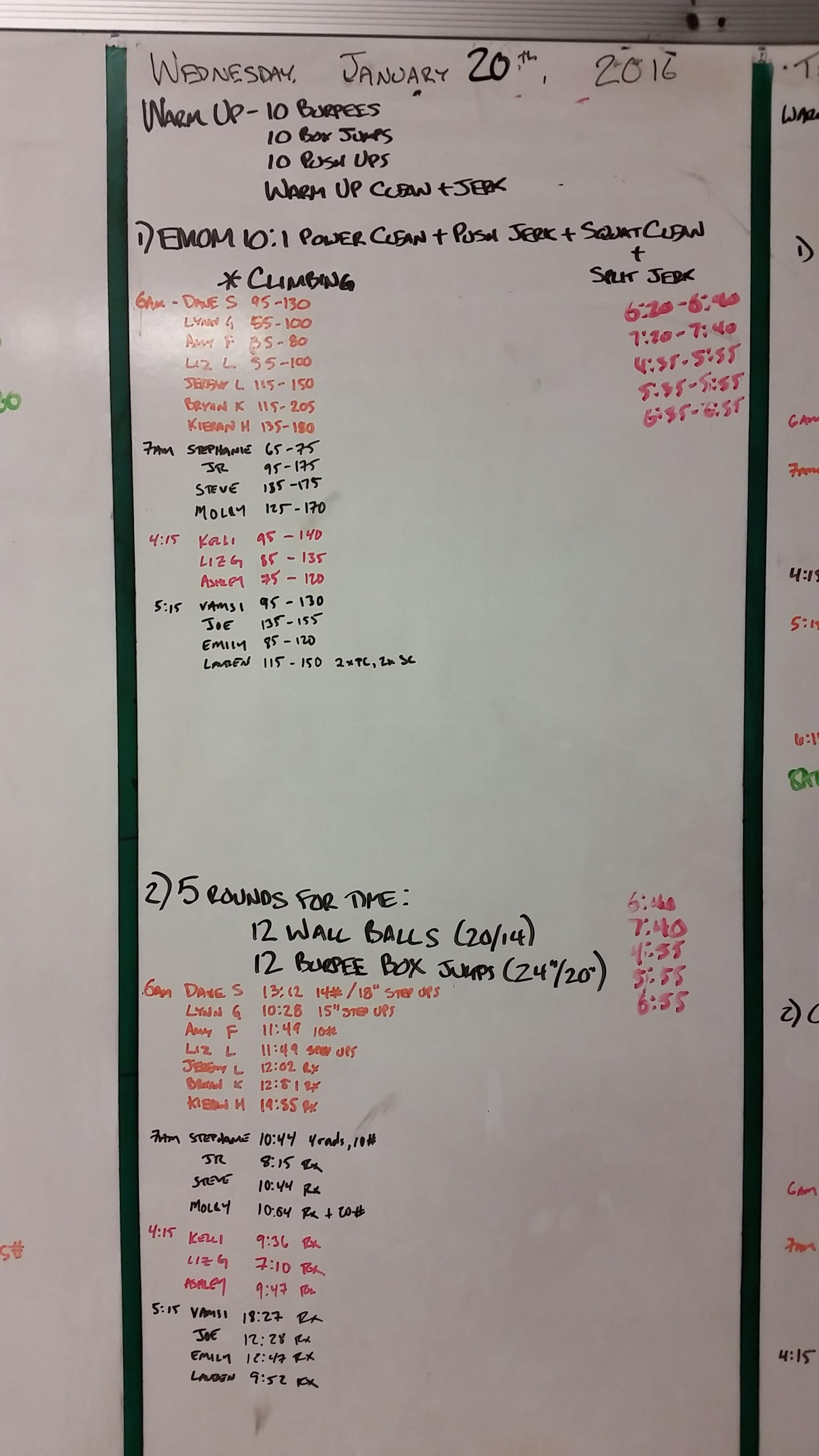 20160120  CrossFit Craft Power Clean Push Jerk Squat Clean Split Jerk Wall Ball Burpee Box Jump