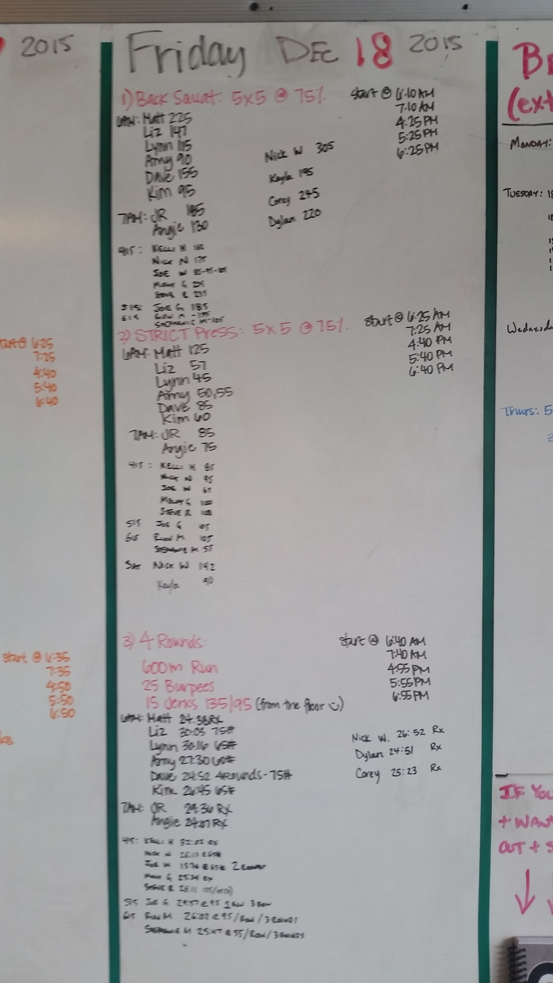 20151218 CrossFit Craft Back Squat Strict Press Run Burpees Jerks