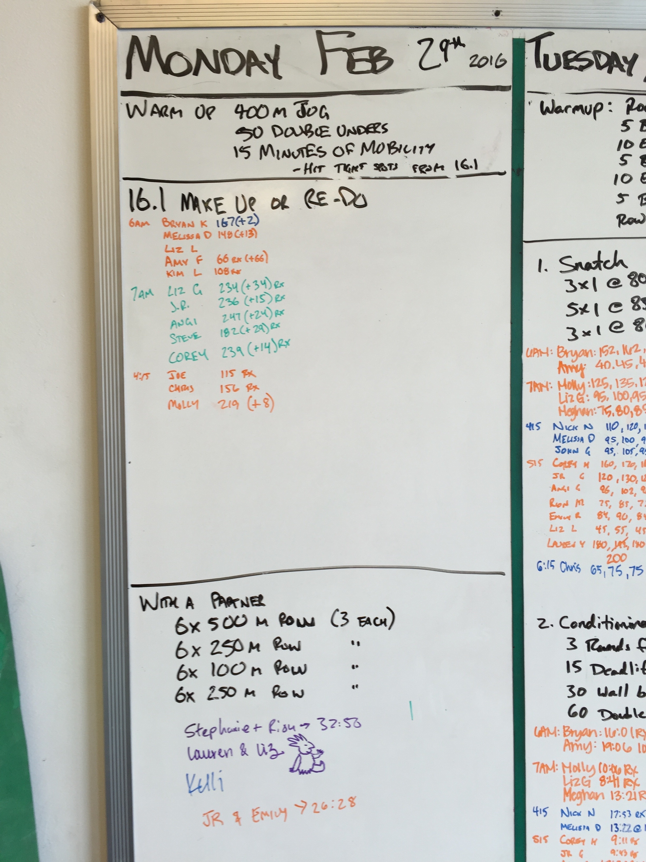20160229 CrossFit Craft BENCHMARK OPEN 16.1 Overhead Walking Lunges Bar Facing Burpees Chest to Bar Pull Ups Row