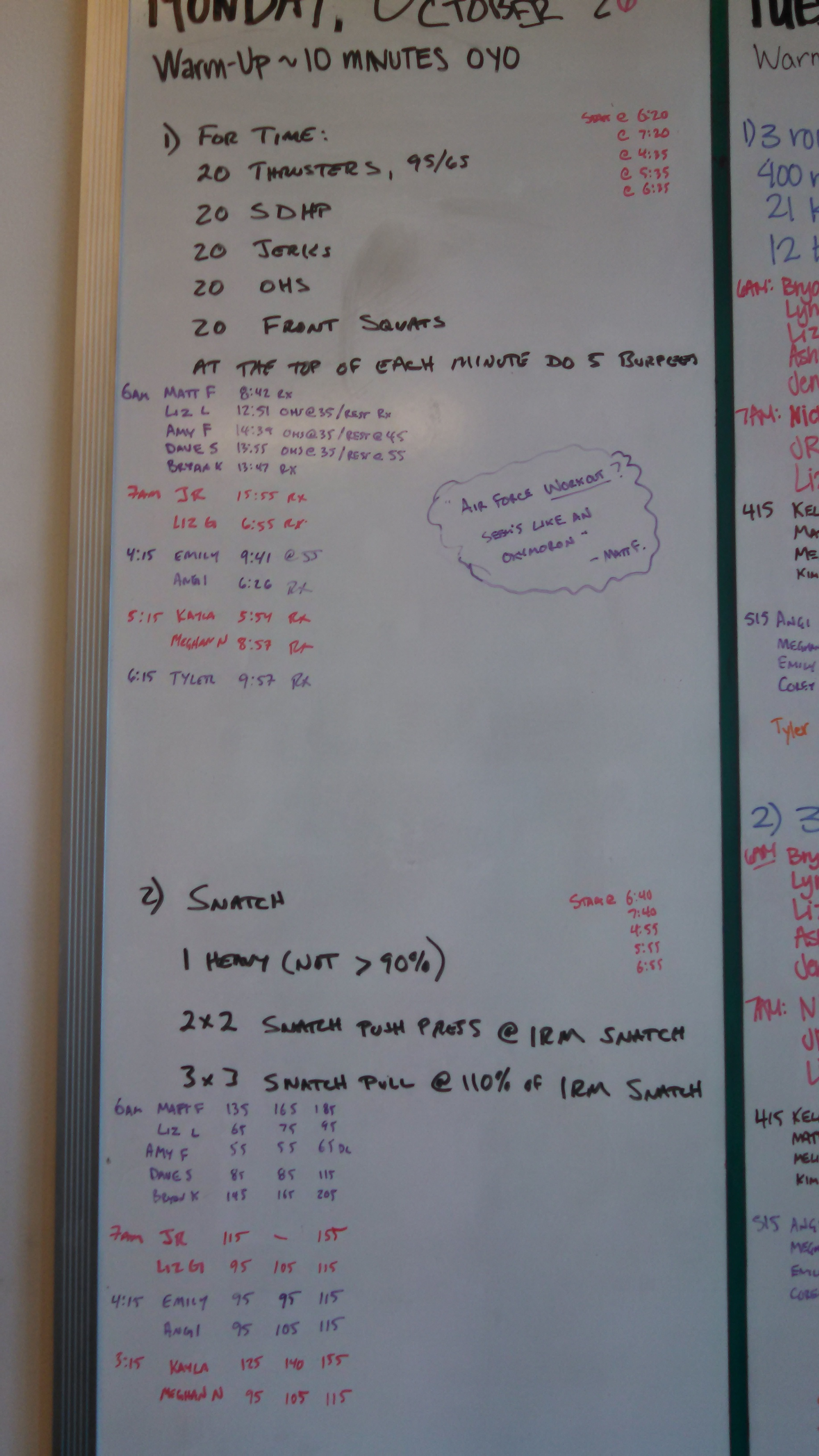 20151026 CrossFit Craft Thrusters Sumo Deadlift High Pull Jerks Overhead Squats Front Squats Burpees Snatch Push Press Pull