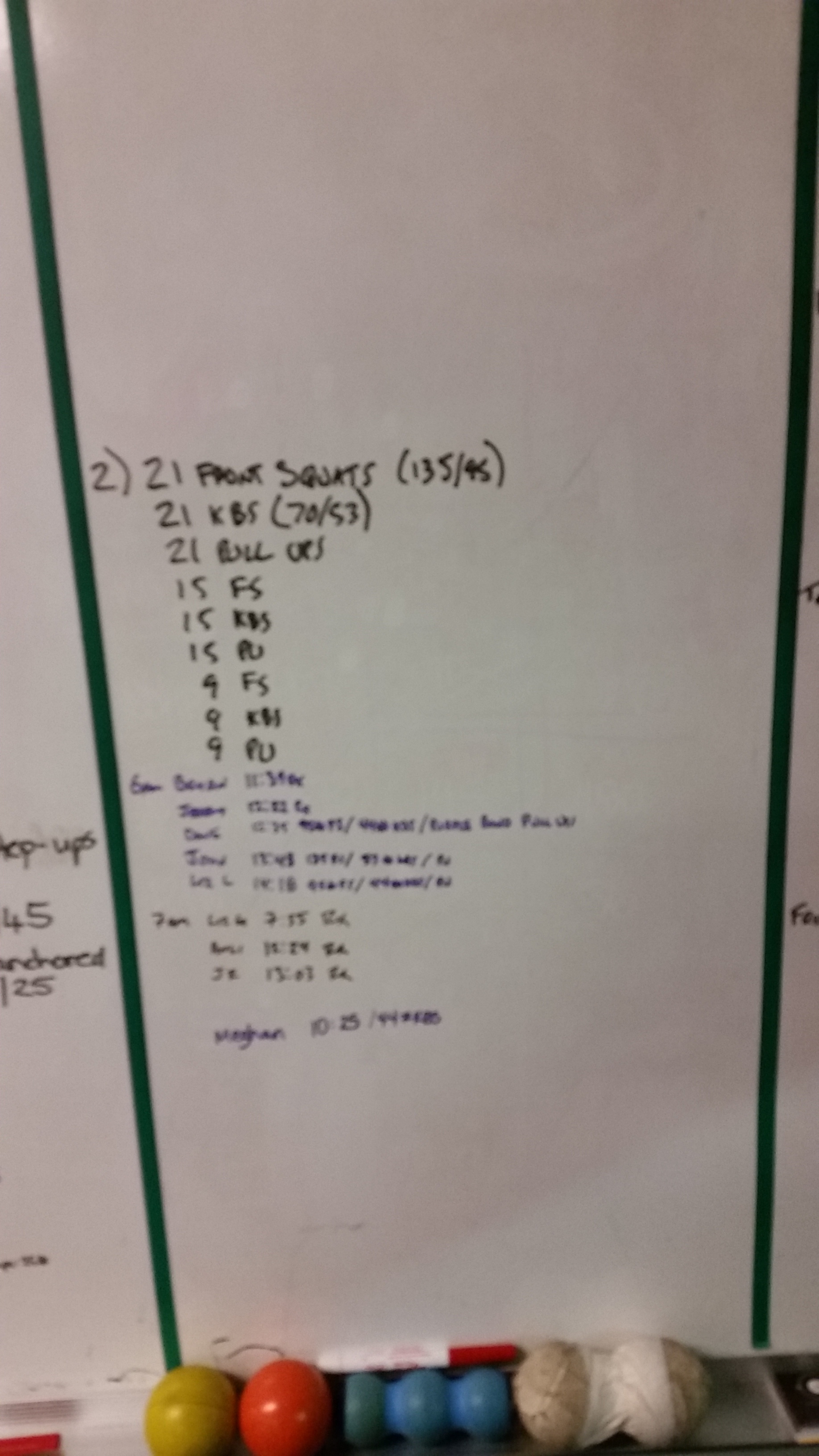 20151019 Extra Work Front Squat Kettlebell Swing Pull Ups