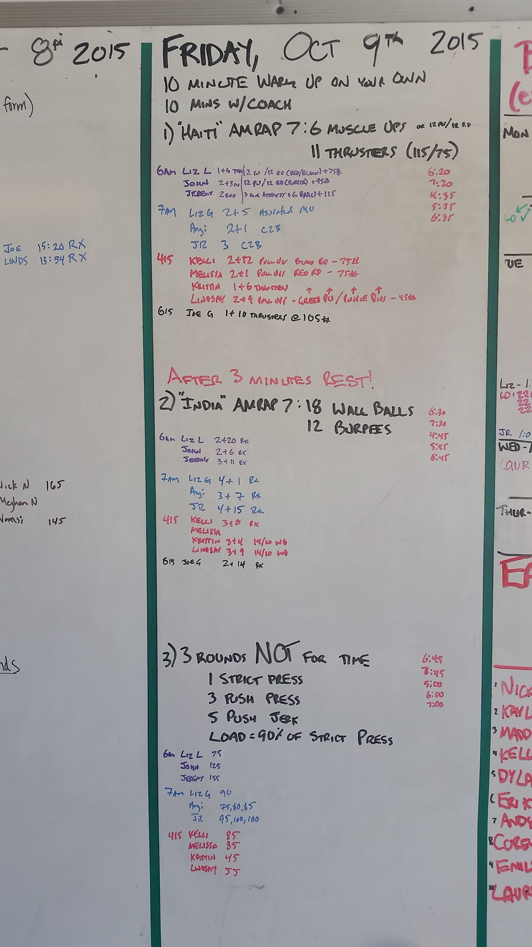 20151009 CrossFit Craft BENCHMARK Haiti Muscle Ups Thrusters India Wall Balls Burpees Strict Press Push Press Push Jerk