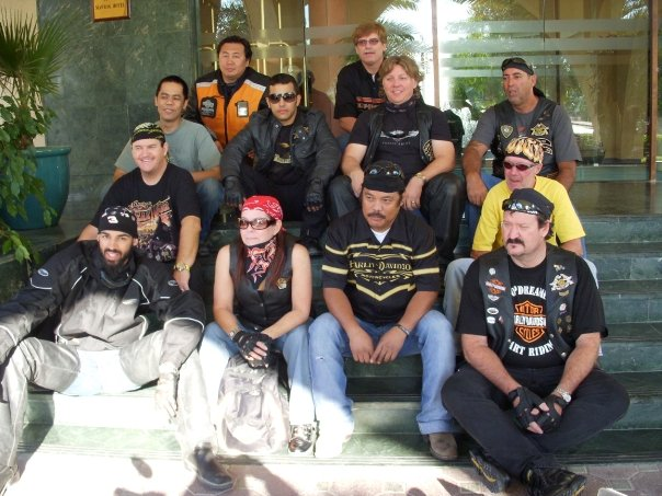I used to be part of a H.O.G. (the QatarHarley Owner's Group). This bike club was full of...let's just say   very   interesting and unique personalities. We had some adventures together, like riding from Doha, Qatar to Muscat, Oman for a bikerally. I was subjected to a retina-scan at the Saudi Arabian border.