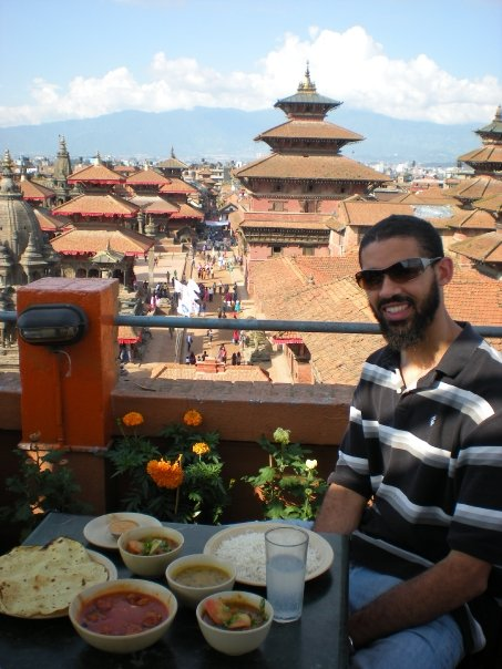 My favorite food is Indian and Thai. But, I'll take Nepalese food and this view any day of the week. This meal in Kathmandu cost about $3.00.