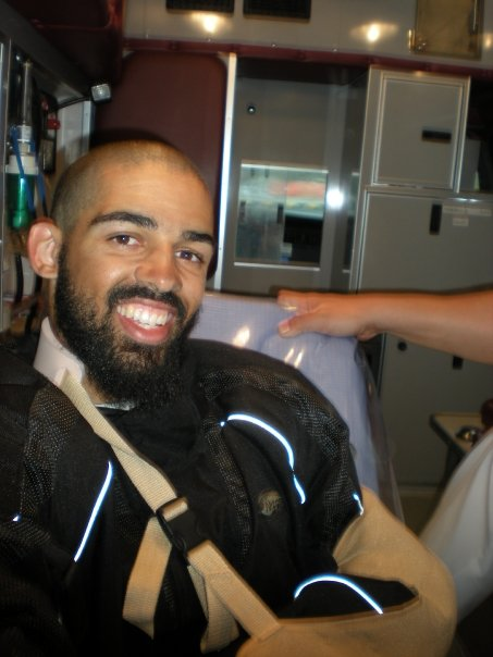 Unfortunately, I've been in a bunch of motorcycle crashes, as well. Here I am in the back of an ambulance, happy to emerge with no broken bones.