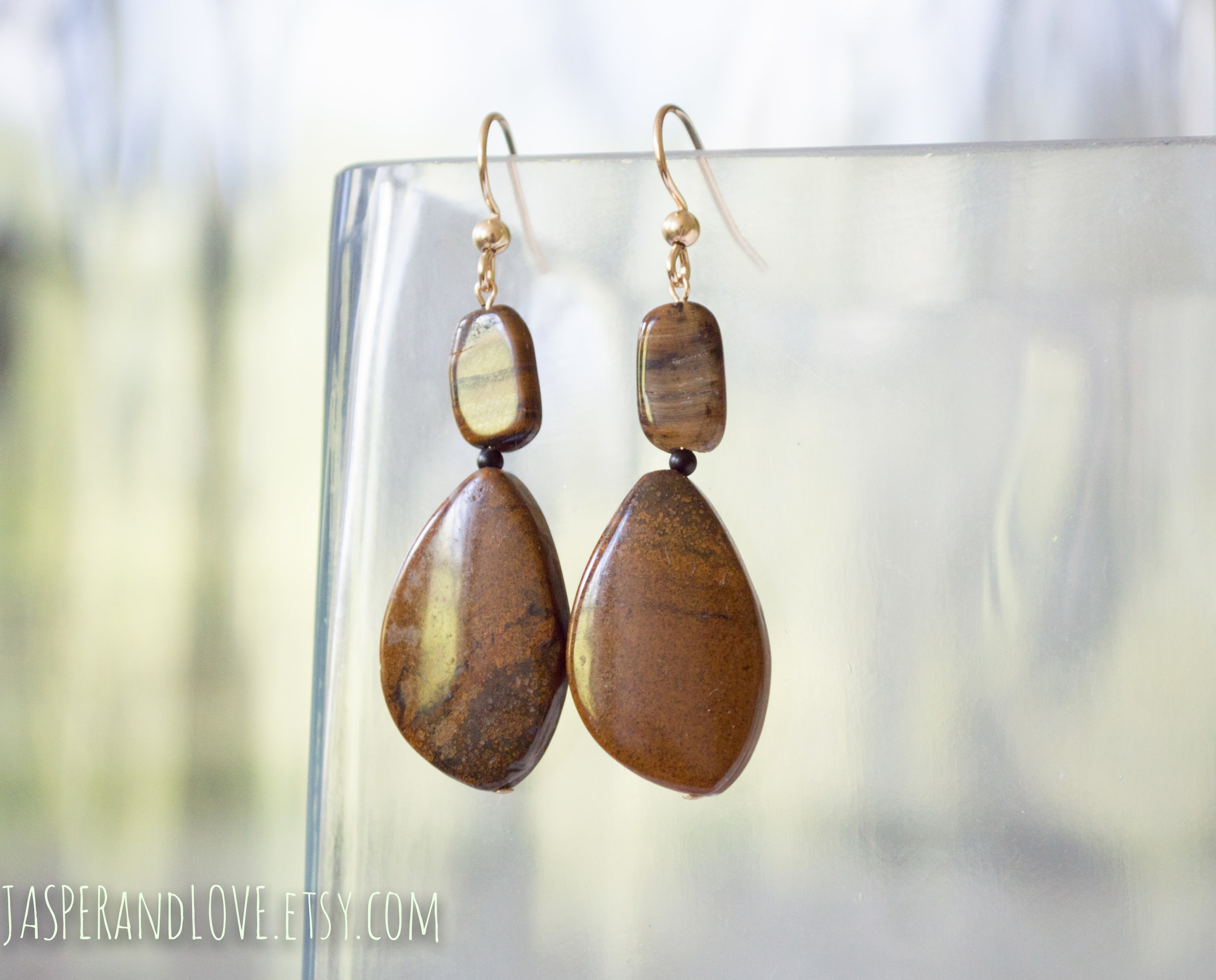 Agnes - Agate gold dangle earrings