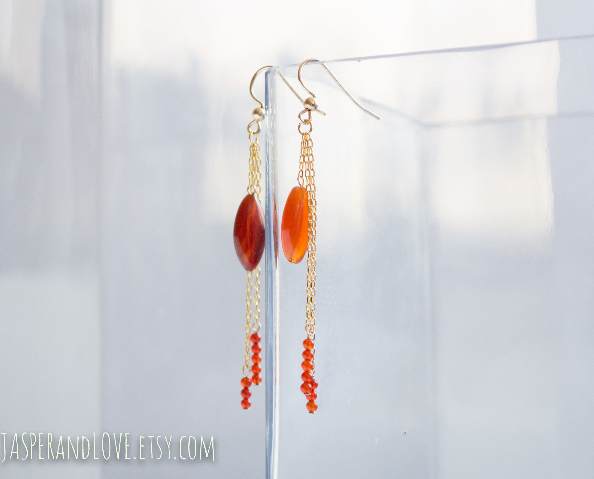 Anise - Carnelian dangle earrings