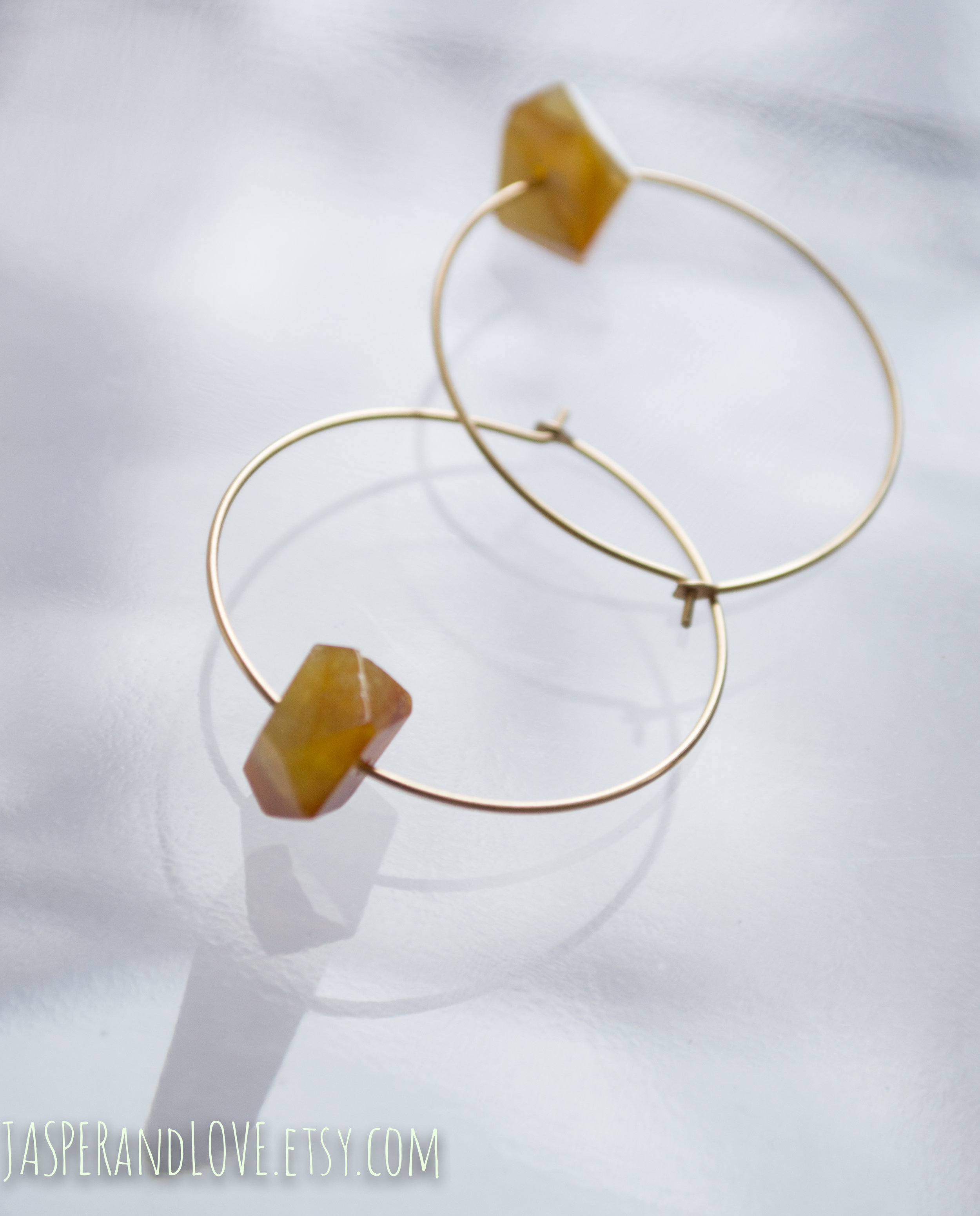 Lulu - Flower jade hoop earrings